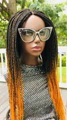 Box Braided Ombre Wig with Net Closure Color 1b/Orange, 24 Inches