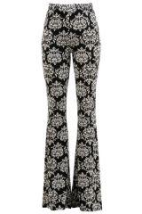 Damask Print Brushed Knit Bell Bottom Pants Sizes S-XL