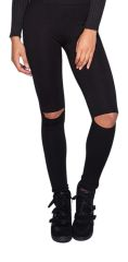 Black High Waisted Leggings with Knee Cut Out Detail
