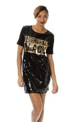 Black and Gold Scoop Neck Sequin T Shirt Dress