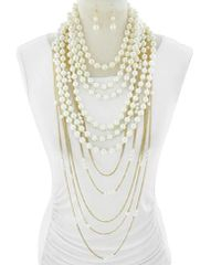Pearl & Chain Multi Row Necklace Set