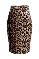 Leopard Print Velvet Pencil Skirt Brown