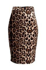 Leopard Print Velvet Pencil Skirt Brown