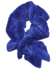 Women's Faux Rabbit Blue Fur Pull-Thru Ruffle Muffler