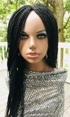 Braided Wig With Net Closure, Color Black