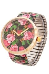 Black Garden Floral Printed Watch