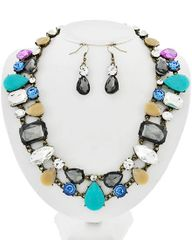 Burnished Gold Tone Multi Color Acrylic Necklace Set