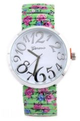 Silver Framed Floral design Watch