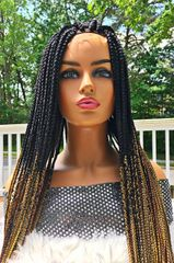 Box Braid Wig with Baby Hair and 4 x 4 Closure Ombre Color 1b/27/30/39J, 34""
