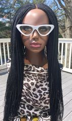 Handmade Cornrow Box Braided Wig Color 1 Black, 26 Inches