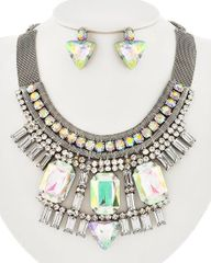 AB Rhinestone Post Earring and Necklace Set