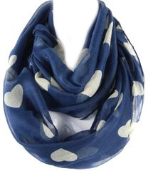 Multiple Hearts Infinity Scarf, Blue