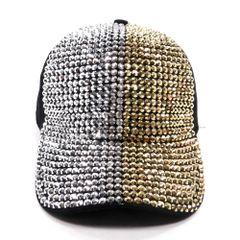Silver and Gold Rhinestone Studded Fashion Cap