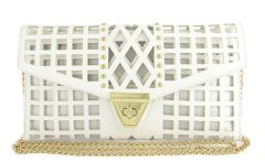 White Laser Cut Out Gold Studded Clutch