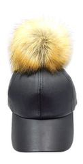 Black Leather Big Pom Pom Baseball Hat