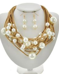 Women's Multi Strand Imitation Pearl Necklace set