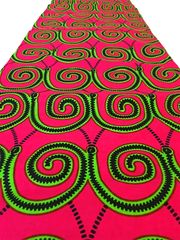 African Ankara Print Fabric 6 Yards Color Fuchsia and Lime