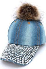Women's Light Blue Denim and Rhinestone Pom Pom Hat