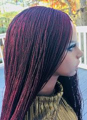 Micro Twist Braided Wig Wine Color, 28 Inches