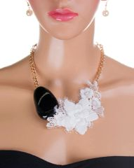 Pearl Ivory and Lace Chain Necklace Set