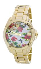 Floral Print Crystal Fashion Watch, White