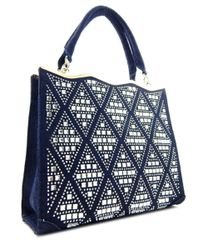 Rhinestone Studded Navy Blue Denim Satchel