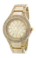 Quilted Texture Crystal Fashion Watch