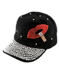 Silver and Red Acrylic Fur Hat