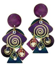 Purple and Teal Cluster Post Earring Set