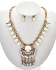 Burnished Gold Tone Cream Acrylic and Rhinestone Charm Necklace