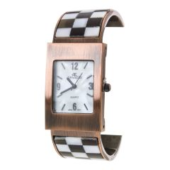 Women's Paved Checker Shell Bangle Watch