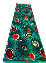 Ankara Print Fabric 6 Yards, Green Multi Color