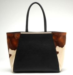 Unique Black Cowhide Handbag