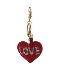 Red Heart Rhinestone and Fabric Key Chain