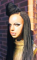 Cornrow Ponytail Braided Wig Color 1, 28 Inches