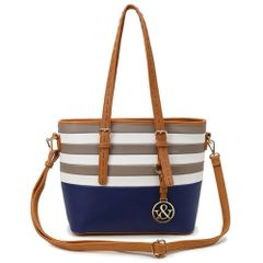 Hue and Ash Navy Stripped Tote