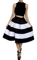 Stripe Flare Black and White Midi Skirt
