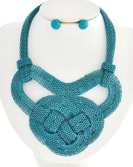 Teal Metal Necklace Set