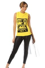 Graphic Print Muscle Shirt with Tulle Pleated Hem