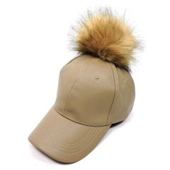 Faux Leather Snap Off Pom Pom Hat