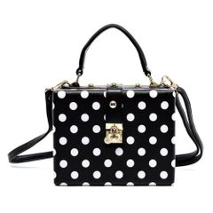 Black and White Polka Dot Box Satchel