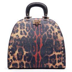 Studded Deco Animal Print Handbag