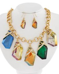 Glass Charm Necklace and Earring Set