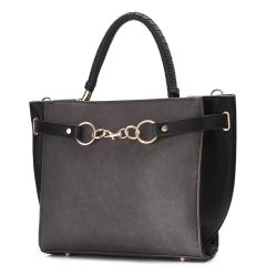 Faux Leather Black Fashion Satchel