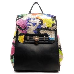 Multicolored Camouflage Padlock Backpack