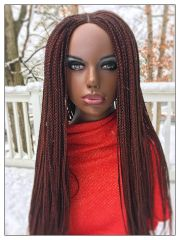 Handmade Cornrow Box Braided Wig, Color 35 &33 Mix, 28Inches