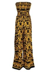 Yellow and Black Printed Jumpsuit with Pockets
