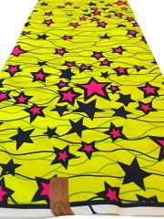 African Ankara Print Fabric 6 Yards Star Design