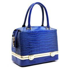 Royal Blue Croc Colorblock Box Satchel