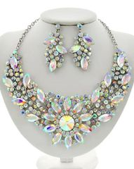 Acrylic and Rhinestone Flower Statement Necklace Set